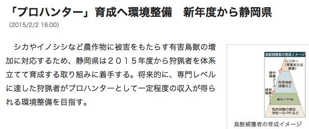 プロハンター 育成へ環境整備 新年度から静岡県|静岡新聞アットエス